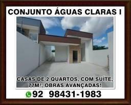 Águas Claras: Casa de 2 quartos com suíte, 77M², 2 vagas, corredor lateral.