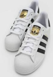 Tênis Adidas Superstar Branco Ouro Preto