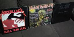 3 vinis Clássicos Rock/Metal - Iron Maiden, Metallica, Ac/Dc - Usados