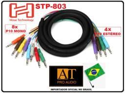 Hosa Technology STP803 Cabo Insert Snake 8 vias P10 mono x 4 vias P10 estéreo
