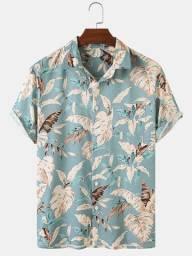 Camisa de Botão Masculina Shein - Folhagem Dourada