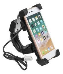 Suporte Universal Smartphone Para Moto e Biz Com Tomada Usb Com Haste Flexível