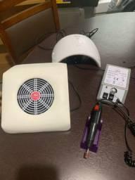 kit manicure nail designer micromotor sugador de po e cabine