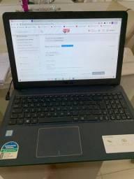 Notebook Asus apenas 2 meses de uso - 1 ano de garantia- com Nota Fiscal e manuais