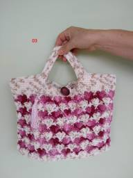 Bolsa de mão crochê fio barroco