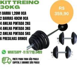 Kit Treino Academia - 30KG Pesos e Barras por R$ 359,90