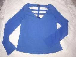 Blusa de manga comprida azul (M)