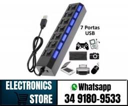 Hub De Usb 7 Portas 2.0 Hd Extensor High Speed Pen Drive Hd (Fazemos Entregas)