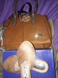 Kit bolsa e sandália e uma outra sandália da AREZZO