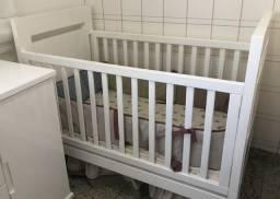 Berço André Filipe Reto para quarto de bebê toda na laca branca