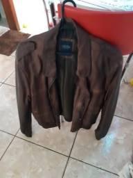 Jaqueta em corino marrom zerada tamanho m