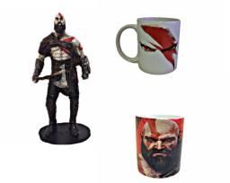 Kratos Action Figure mais Caneca Porcelana Exclusiva e Quadro brinde