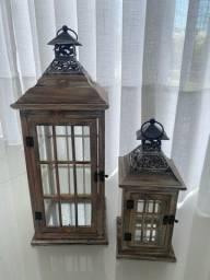 Conjunto gaiolas decorativas de madeira