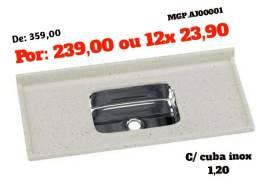 Black Friday - Pedra Pia de 1,20 C/ Inox - Direto da Fabrica
