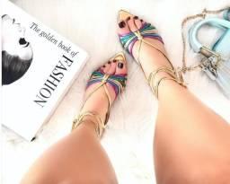 Sandália Rasteira dourada ou colorido bico de folha com amarração