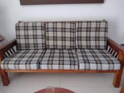 Título do anúncio: Jogo de sofás de madeira com almofadas
