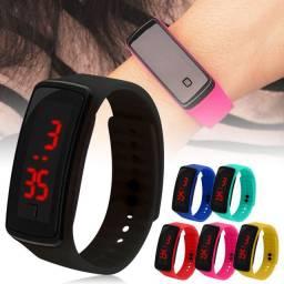 Relógio de Pulso Digital LED de Borracha de Silicone em Cor Viva com Tela Touch