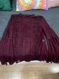 Camisa rendada marsala marca Evian