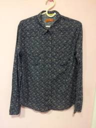 Camiseta de botão feminina, estampa floral, AD brand, tamanho 3