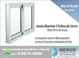 Esquadrias de Alumínio - Janela 2 Folhas de Correr 1,50x1,20 m (pronta entrega)
