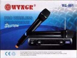 Microfone Duplo Sem Fio Profissional Vhf Wg-005 220v