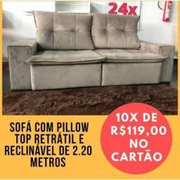 Sofá retrátil e reclinável com pillow top por apenas 10x de 119,00 sem juros no cartão