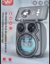 Caixa de som portátil com suporte para telefone exclusivo