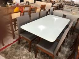 Mesa de jantar cadeiras de madeira maciça