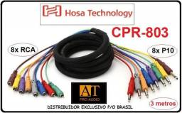 Multicabo Snake 1/4 (P10) X Rca Mono Hosa CPR803 3m Profissional Loja AT Proaudio