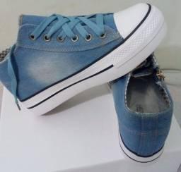 Tênis jeans plataforma 34