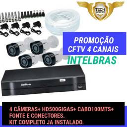 KIT CFTV 4CÂMERAS INTELBRAS