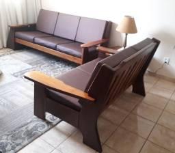 Conjunto Sofá rústico Madeira maciça