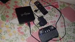 Tv box completo mais controle de Led
