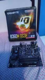 Placa Mãe Gigabyte B360M DS3H DDR4 8° e 9° geração da intel