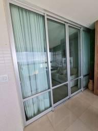 Jogo de portas grandes de vidro com esquadria de alumínio 2,50 × 3,00