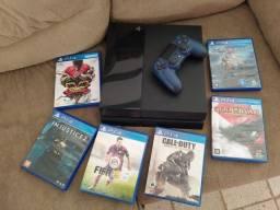 PS4 Fat HD de 1t + 6 jogos