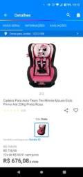 Cadeira para automóvel Minnie mouse até 25kg preta/rosa