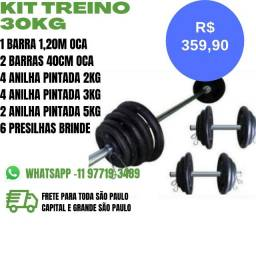 Kit Treino - Treine em Casa - Academia - Pesos e Barras
