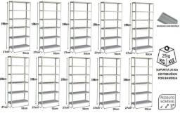10 Estantes de aço p 27 c/ 06 bandejas c / reforço ( nova ) promoção