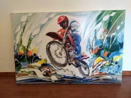 "Quadro ""moto e motociclista na trilha"""