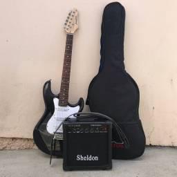 Kit Guitarra Strinberg Modelo Sts100 Strato Cor Preta