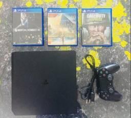 Playstation 4 Slim 500GB + 3 Jogos Originais (Garantia)