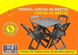 Para Cliente Exigente - Mesa Bar 70x70 c/ Cadeira Dobrável em Madeira Maciça - Fotos Reais