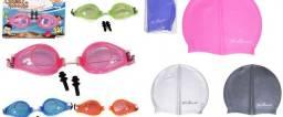 Kit Natação Proteção Com Óculos + Touca + Protetor Auditivo Cores AZUL e ROSA
