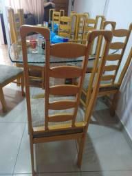 Mesa de Jantar com 6 Cadeiras em Madeira Maciça cor Marfim