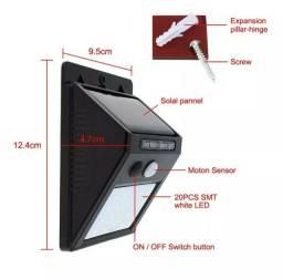 Luminária De Parede 20 Leds Energia Solar Com Sensor De Movimento e Presença