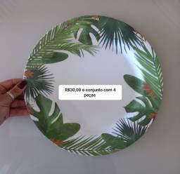 Conj de Sousplat/prato em melamina