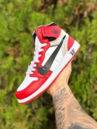 Tênis nike jordan air vermelho linha premium