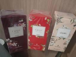 3 perfumes Boticario por R$ 150,00.