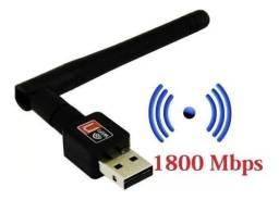 Adaptador receptor wi-fi USB antena 1800 mbps